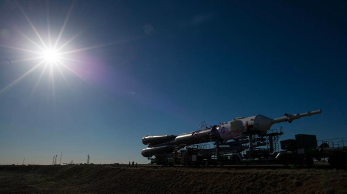 Three crew members are on their way to the International Space Station after launching from the Baikonur Cosmodrome in Kazakhstan at 7:12 a.m. EDT Wednesday. Above - The Soyuz rocket is rolled out by train to the launch pad, Monday, June 4, 2018, at the Baikonur Cosmodrome in Kazakhstan.