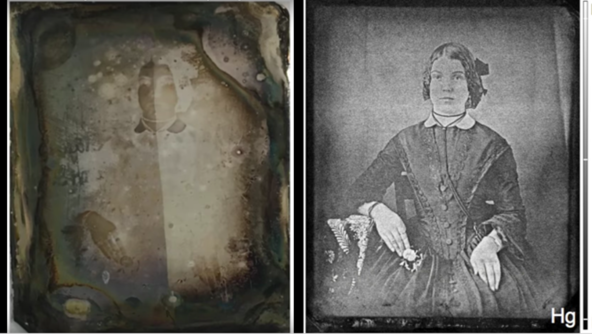 Western University scientists learned how to use light to see through degradation that has occurred over time. Above - an image of a woman recovered from a 19th-century daguerreotype that had tarnished almost beyond recognition.