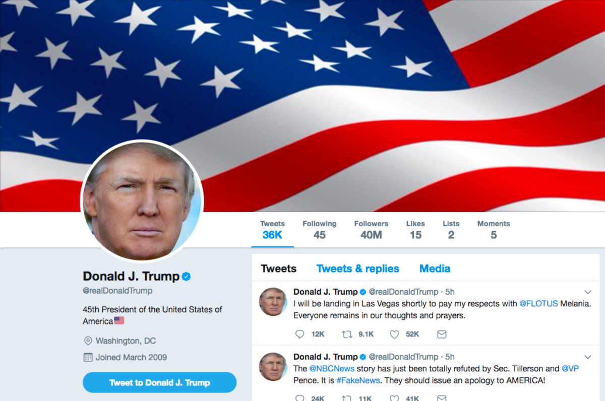 The President of the United States of America Donald J Trump's personal twitter account