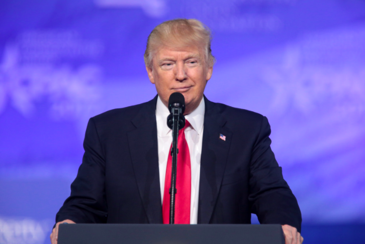 President of the United States Donald Trump speaking at the 2017 Conservative Political Action Conference (CPAC) in National Harbor, Maryland.